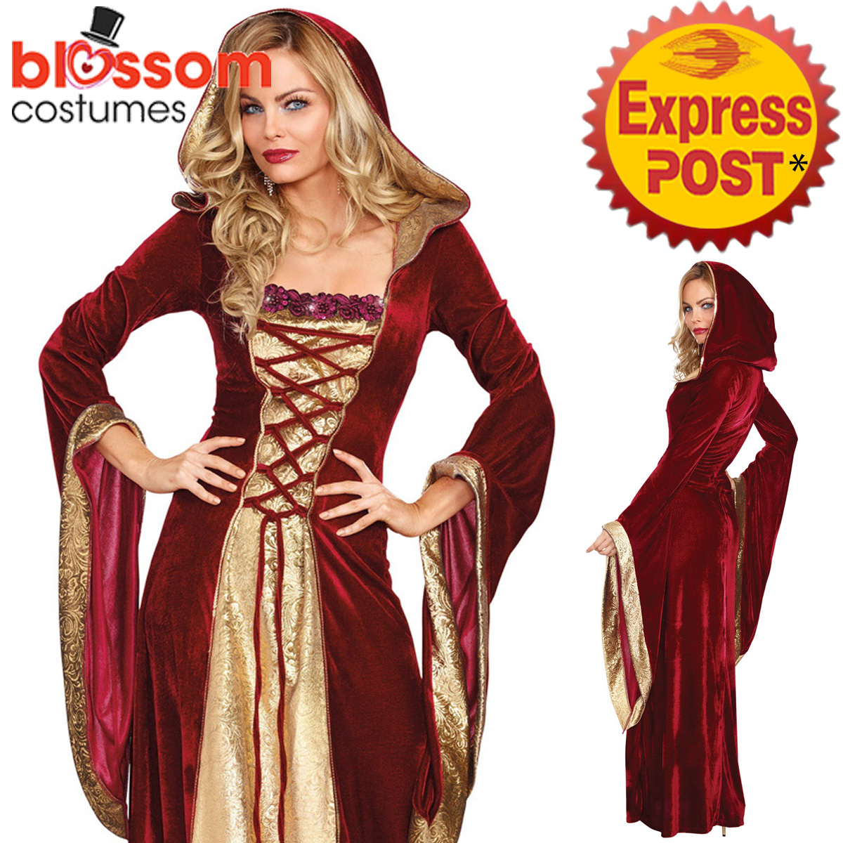 K2305 Burgundy Gown Game Thrones Renaissance Medieval Queen Fancy ...