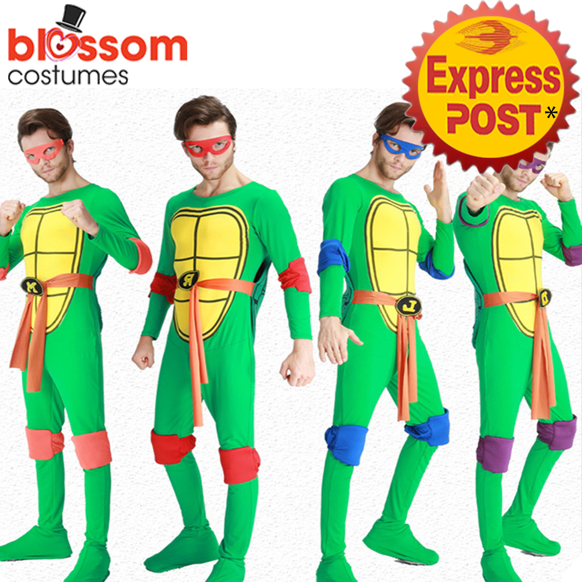 Image is loading K402-Mens-Teenage-Mutant-Ninja-Turtles-Costume-TMNT-  sc 1 st  eBay & K402 Mens Teenage Mutant Ninja Turtles Costume TMNT Superhero Adult ...