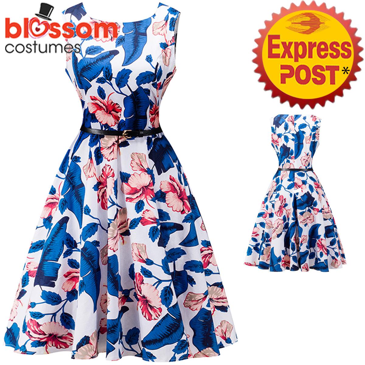 K334 Blue Flower Retro Rockabilly Vintage Party 50s Swing Dress