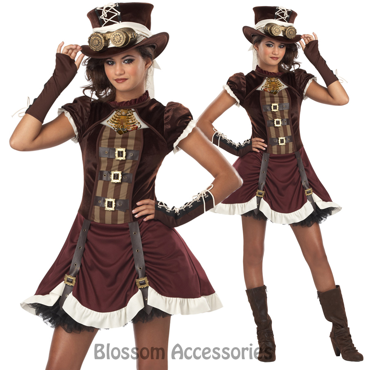 Image is loading CK296-Ste&unk-Girl-Tween-Victorian-Gothic-Halloween -Fancy-  sc 1 st  eBay & CK296 Steampunk Girl Tween Victorian Gothic Halloween Fancy Dress Up ...