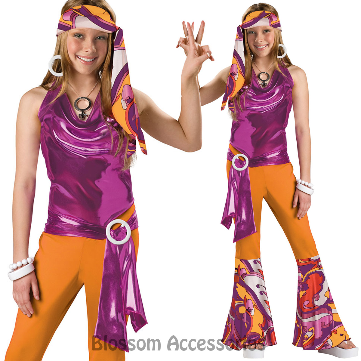ck606 dancing queen retro 70s disco girls kids dance fancy dress