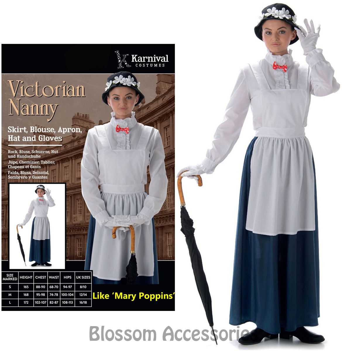 Cl981 Victorian Nanny Mary Poppins Book Week Fancy Dress Up