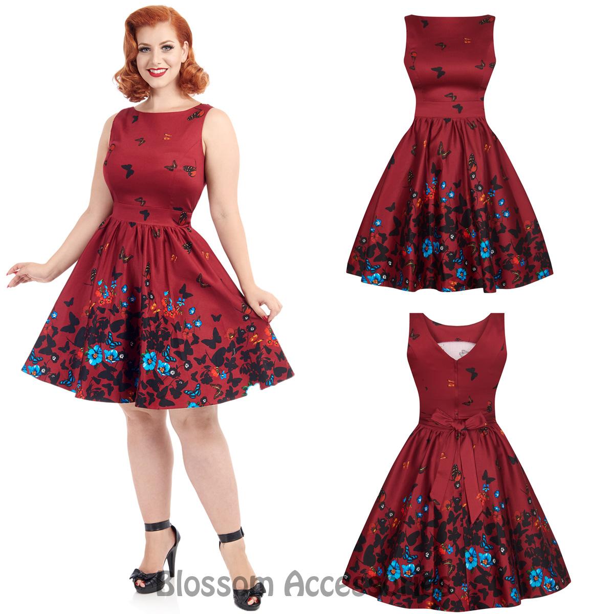 RKL38-Lady-Vintage-London-Red-Butterfly-Dress-50s-Party-Rockabilly-Swing-Retro