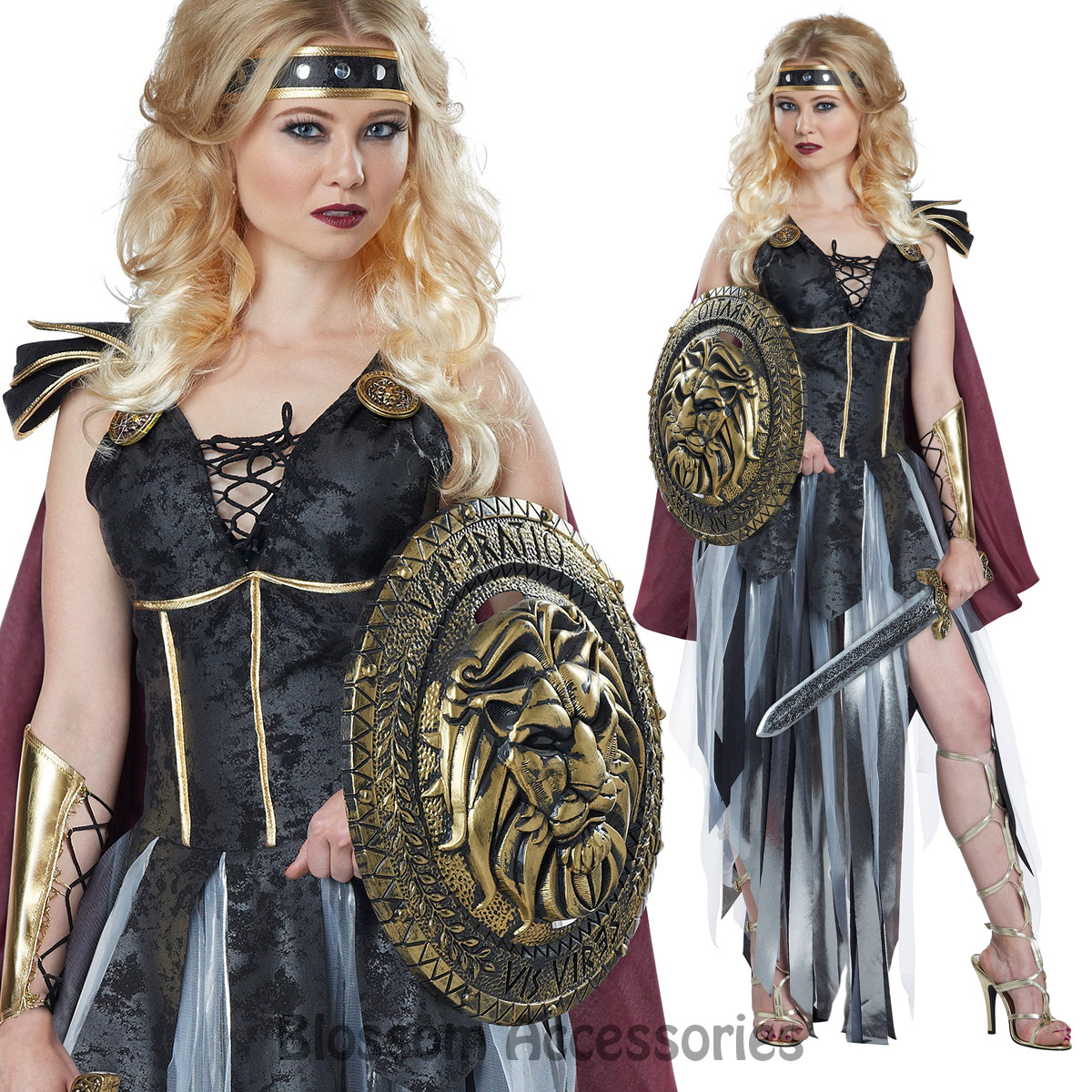 Image is loading CA55-Glamorous-Roman-Gladiator -Medieval-Spartan-Warrior-Women-  sc 1 st  eBay : real gladiator costume  - Germanpascual.Com