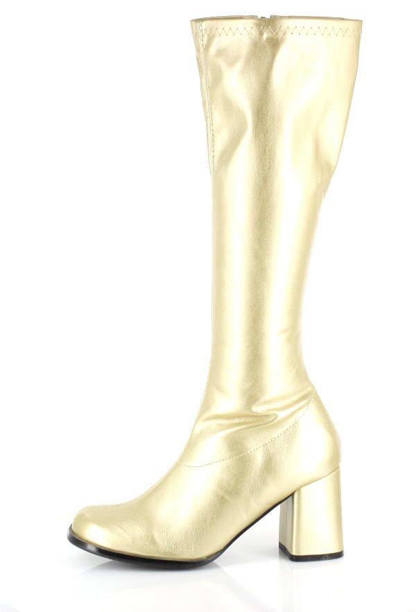 S19 Ladies GoGo Gold Knee High Adult Womens Hippy Go 60/'S 70/'S Disco Shoes Boots