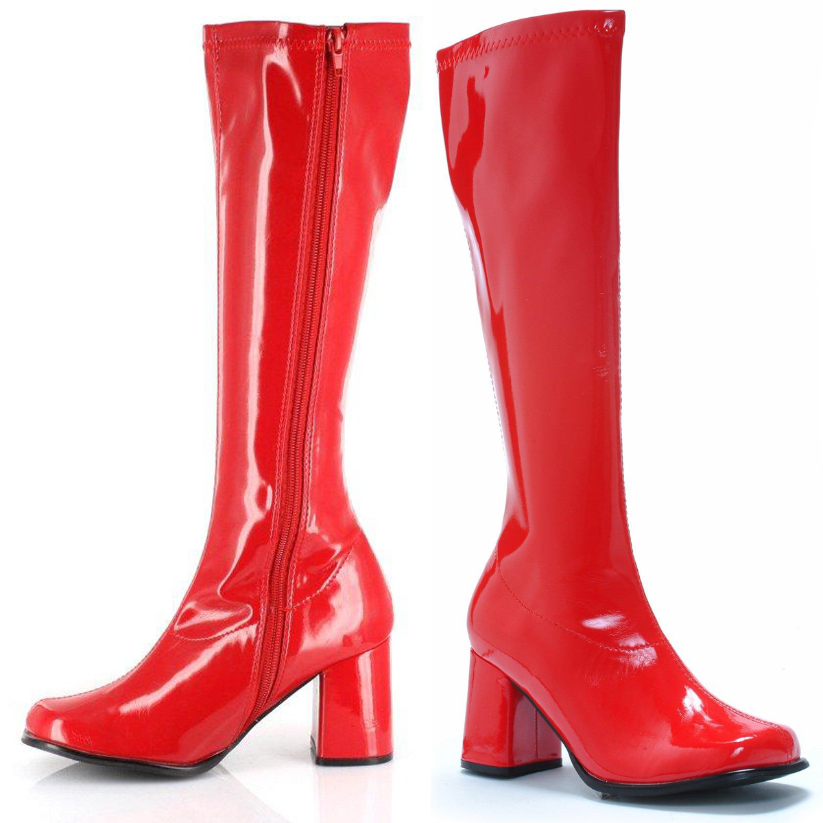 7d45c3ab55c Details about S30 Ladies GoGo RED Knee High Adult Womens Hippy 60 S 70 S Disco  Shoes Boots