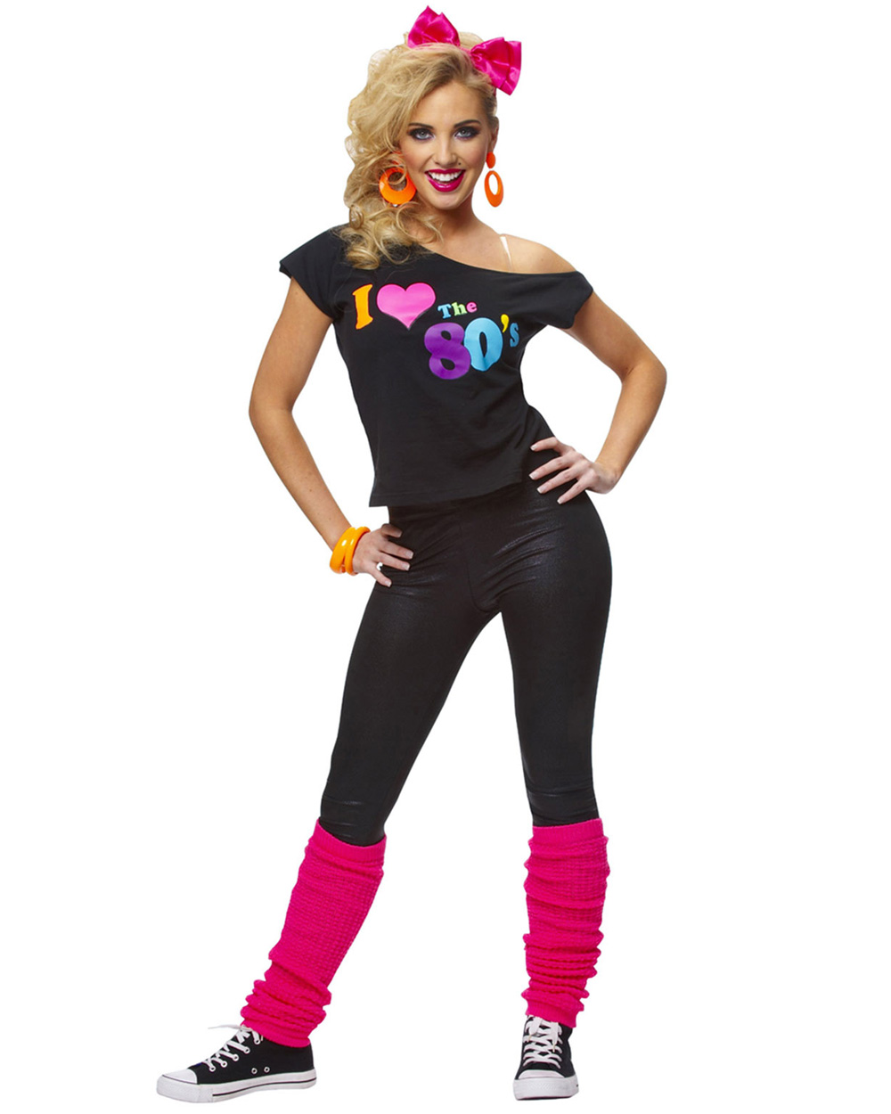 Ladies Back To The Eighties Top 80s T-Shirt Womens Fancy Dress Outfit