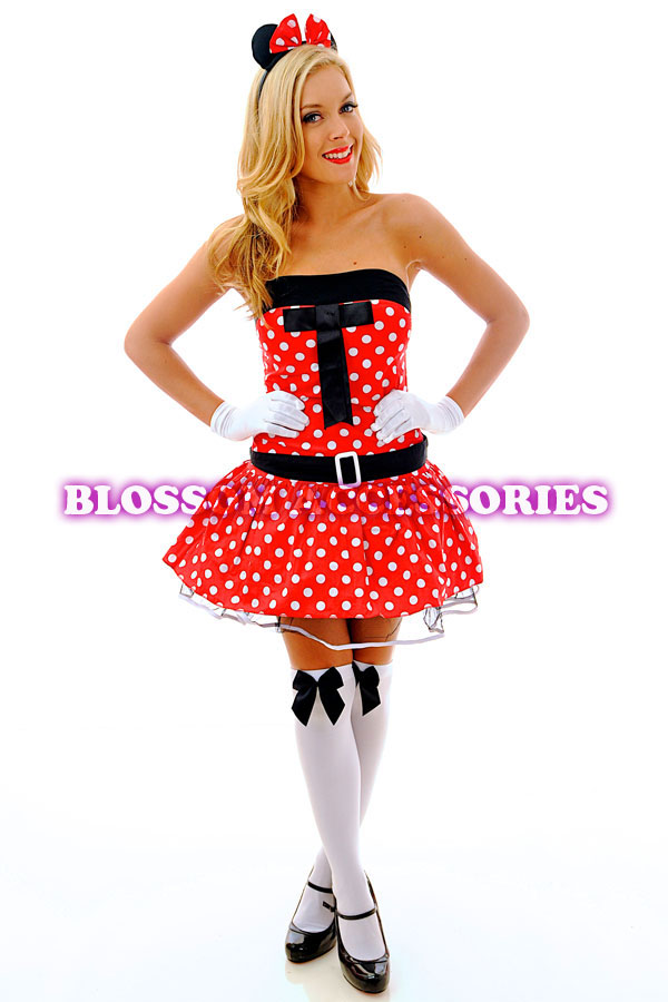 Womens Minnie Mouse Disney Fairy Tale Ladies Fancy Dress  Costume Size 10-12