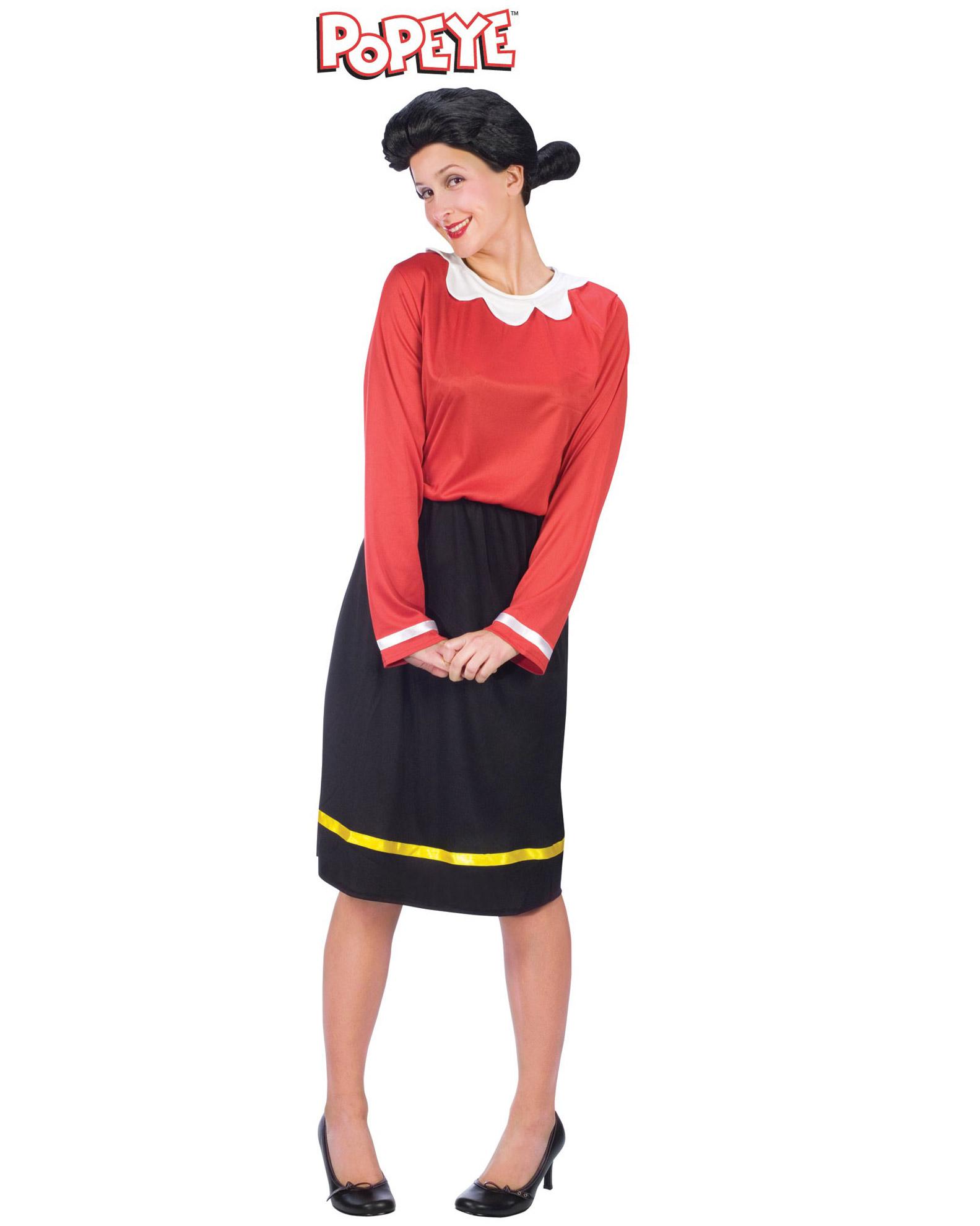 Wig Licensed Women Olive Oyl Popeye Costume Ladies Halloween Fancy Dress