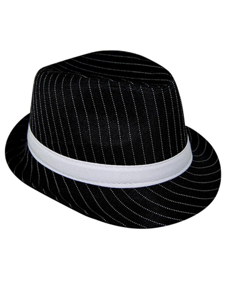 ab3aa39ab20 AS149 Fancy Dress Adults Fedora GANGSTER HAT 1920s Pinstripes Black White |  eBay