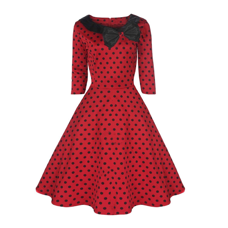 e558b07146a Rk58 Rockabilly Polka Dot Parisian Swing Dress Black Red 50s Retro