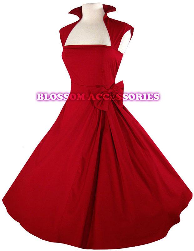 RK40 Rockabilly Vintage Swing Work Evening Dress 40s 50s Retro Emo Pin Up  Plus