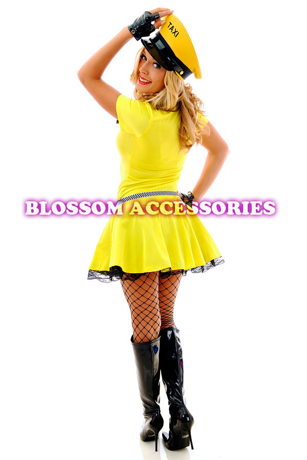 F62 Ladies Yellow Cab Taxi Driver Fancy Dress Hens Night Party Costume /& Hat