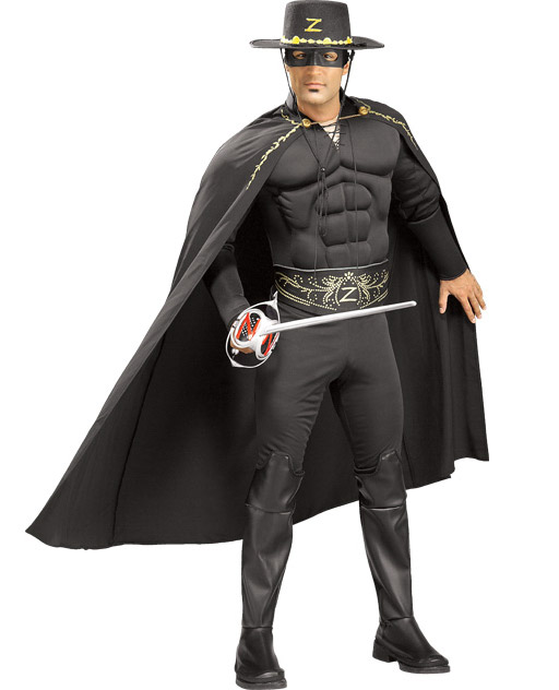 C601 Mens Deluxe Zorro Muscle Chest Halloween Hero Fancy